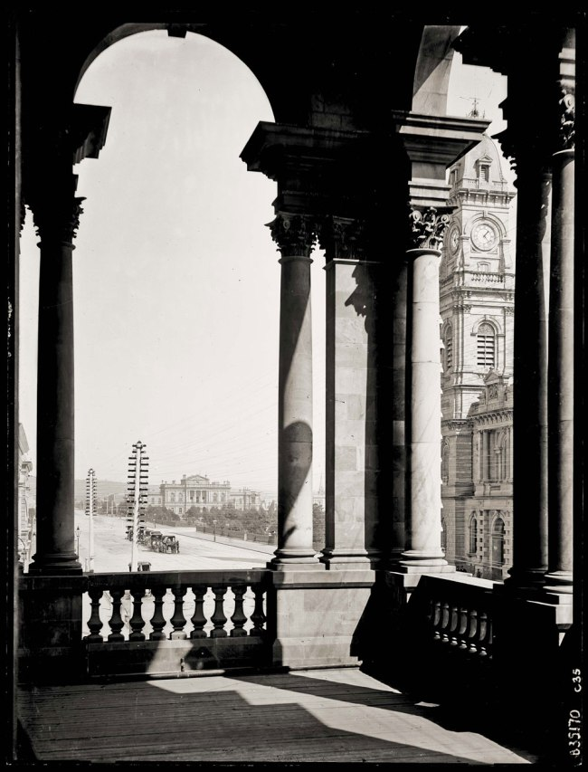 Frederick Charles Krichauff, 1861-1954, photographer. 'From the Adelaide Town Hall' c. 1880