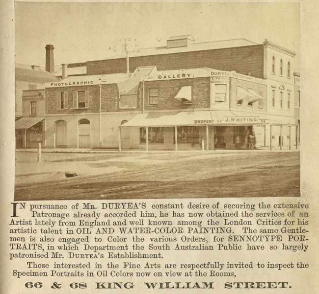 John W. Butler (publisher) 'Advertisement for Townsend Duryea's studios' Photographic Gallery of Townsend Duryea, south-east corner of Grenfell Street and King William Street National directory of South Australia for 1867-68 1867