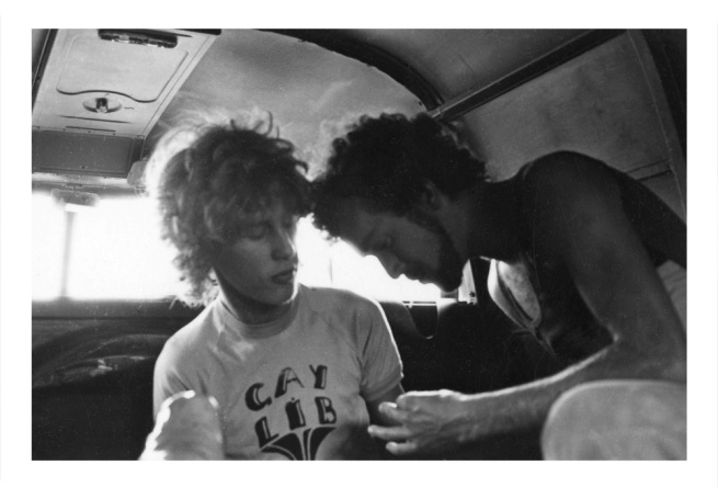 Barbara Creed. 'Julian Desaily and Peter McEwan in the back of a VW Combi van, Melbourne' Melbourne, c. 1971-73