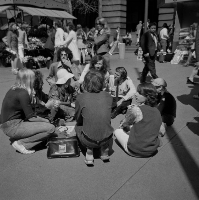 John Englart. 'Sit down protest in Martin Place in protest at Council Officers preventing us handing out material' Sydney, 1973