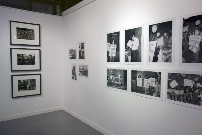 Phillip Potter and John Storey photographs of the first ever Gay Liberation protest in Sydney in 1971 to the right; then Ponch Hawkes four photographs followed by three photographs by Rennie Ellis