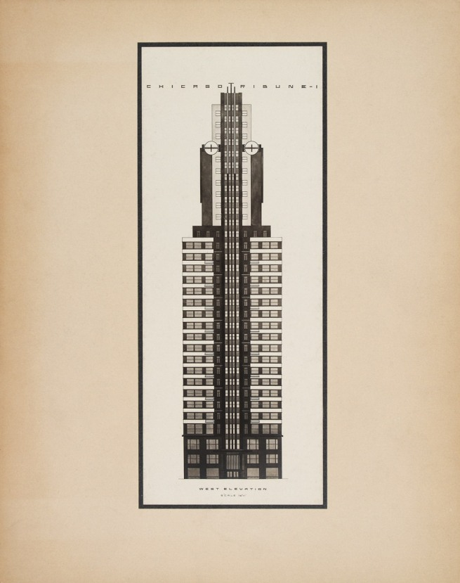 Knud Lonberg-Holm. 'Design for the Chicago Tribune Tower Competition' West elevation 1922