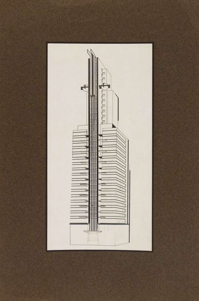Knud Lonberg-Holm. 'Design for the Chicago Tribune Tower Competition' West view axonometric 1922