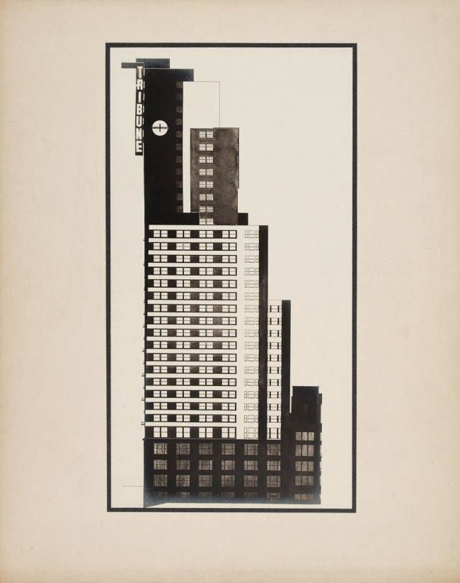 Knud Lonberg-Holm. 'Design for the Chicago Tribune Tower Competition' Side elevation with Tribune sign visible 1922