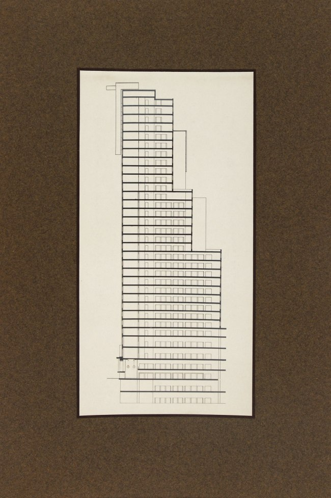 Knud Lonberg-Holm. 'Design for the Chicago Tribune Tower Competition' Preliminary side elevation 1922