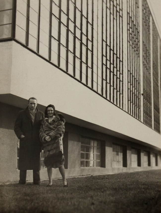 Knud Lonberg-Holm Iwao Yamawaki (attributed) 'Knud & his wife Ethel outside of Bauhaus' 1931