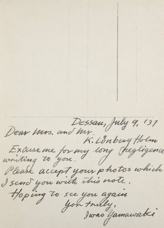 Note from Iwao Yamawaki to Knud Lonberg-Holm Dessau, July 9, 1931