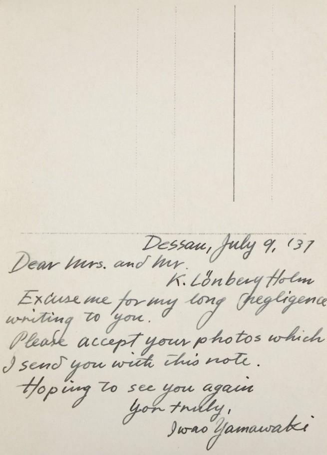 Note from Iwao Yamawaki to Knud Lonberg-Holm Dessau, July 9, 1931