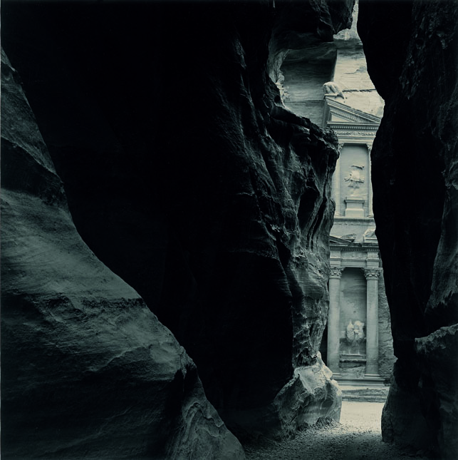 Emmet Gowin. 'The Khazneh from the Sîq, Petra (Jordan)' 1985