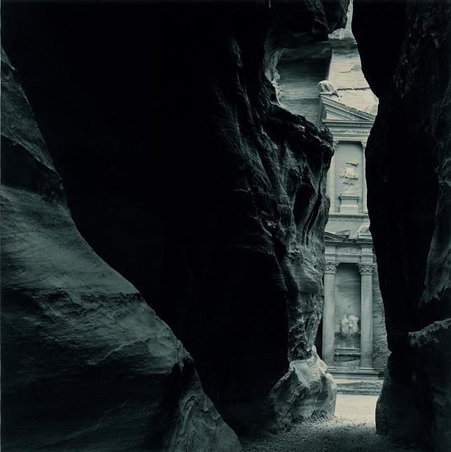 Emmet Gowin. 'The Khazneh from the Sîq, Petra (Jordan)' 1985