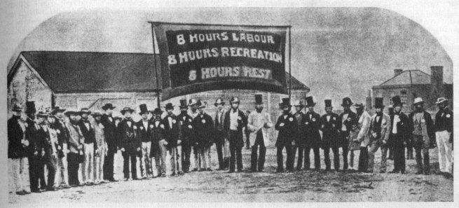 Photographer unknown. 'The original eight hour day banner' 1856