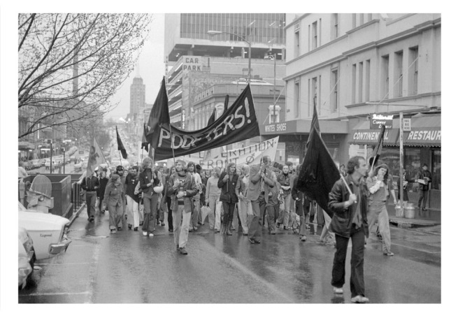 Ponch Hawkes. 'Gay Liberation march, Russell Street, Melbourne' Melbourne, 1973