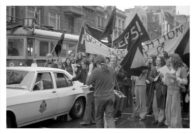 Ponch Hawkes. 'Gay Liberation march, Elizabeth Street, Melbourne' Melbourne, 1973