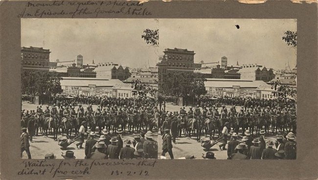 John F. Shale. 'Mounted police assembled in the square during the General Strike, Brisbane' 1912