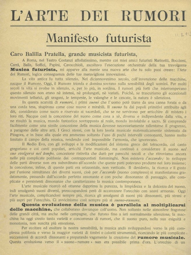 """Luigi Russolo. """"The Art of Noises: Futurist Manifesto"""" (""""L'arte dei rumori: Manifesto futurista"""") Leaflet (Milan: Direzione del Movimento Futurista, 1913)"""