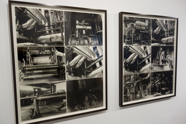 Installation photographs of Jane Brown 'Triptych. The Paper Mill (former Amcor and APM site), Fairfield' 2014 (details) at the exhibition 'The Sievers Project' at the Centre for Contemporary Photography (CCP)