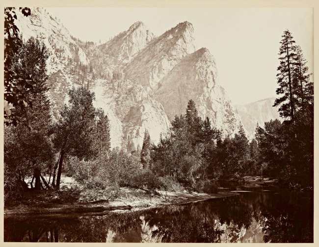 Carleton Watkins (U.S.A., 1829-1916) 'Pompompasos, the Three Brothers, Yosemite 4480 ft.' 1865-1866
