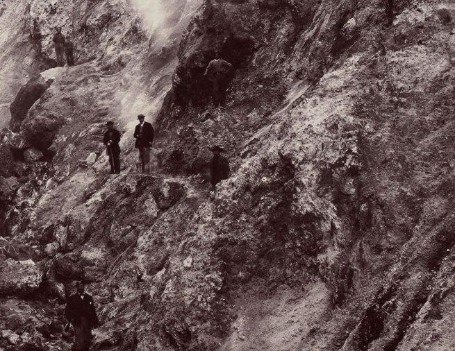 Carleton Watkins (U.S.A., 1829-1916) 'Devils' Cañon Geysers, Looking Up' (detail) c. 1867
