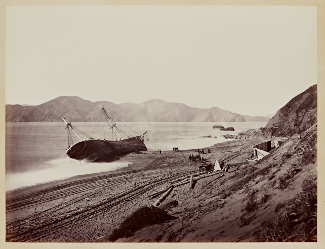 Carleton Watkins (U.S.A., 1829-1916) 'The Wreck of the Viscata' March 1868