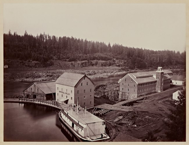 Carleton Watkins (U.S.A., 1829-1916) 'Flour and Woolen Mills, Oregon City' 1867