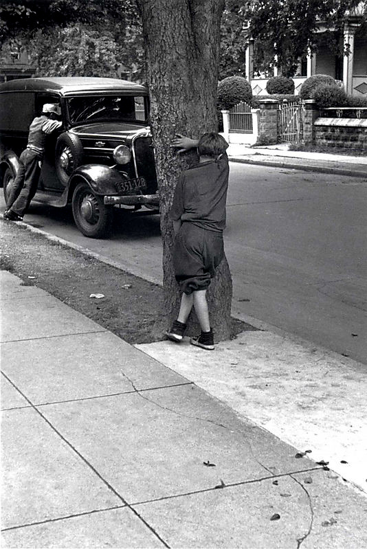 Helen Levitt (American, 1913-2009) [Kids on the Street Playing Hide and Seek, New York City] c. 1942