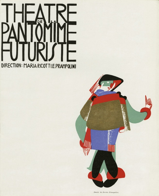 Enrico Prampolini and Maria Ricotti, with cover by Enrico Prampolini. 'Program for the Theater of Futurist Pantomime' (Théâtre de la Pantomine Futuriste) Illustrated leaflet (Paris: M. et J. De Brunn, 1927)