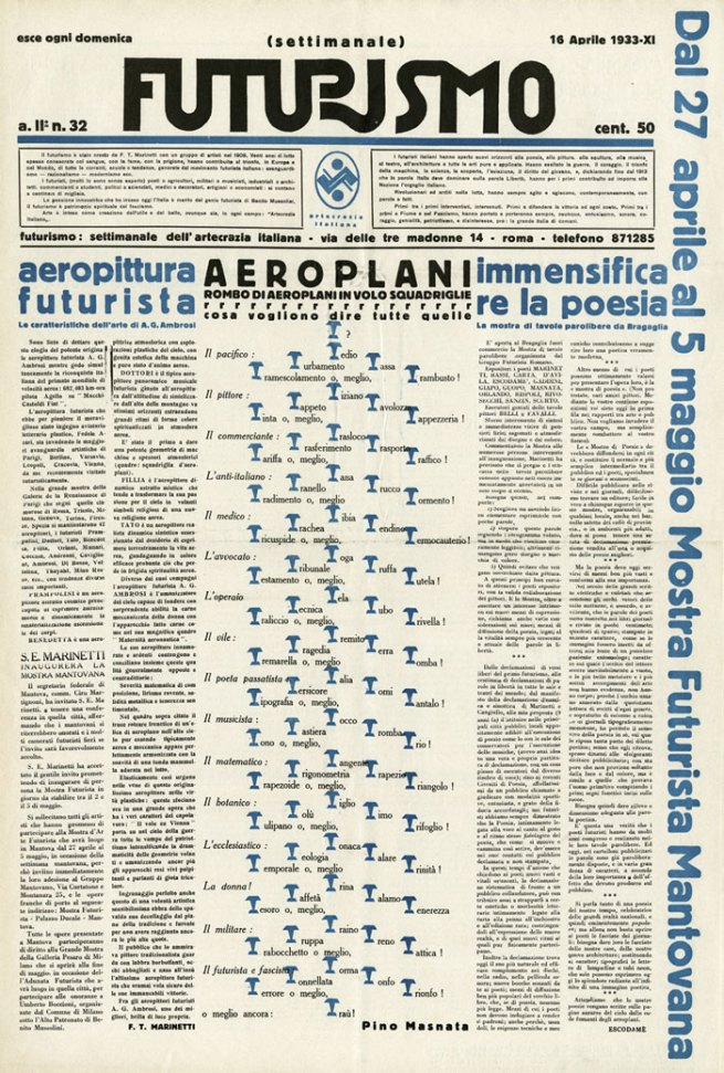 Mino Somenzi, ed., with words-in-freedom image Airplanes (Aeroplani) by Pino Masnata. 'Futurismo 2, no. 32' (Apr. 16, 1933) Journal (Rome, 1933)