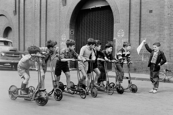 Frank Burke. 'A kids scooter race at the Paddy's Markets in Sydney, 19 August 1956' 1956