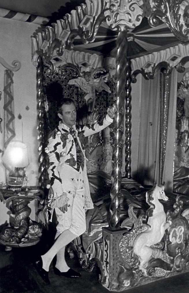 Cecil Beaton. 'Cecil Beaton in his first costume of the night for the Fete Champetre, in his Circus bedroom, 10 July 1937, Ashcombe' 1937
