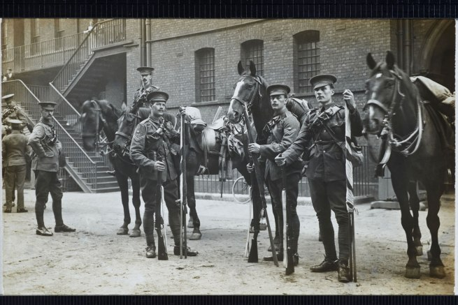Christina Bloom. 'The 1st Life Guards prepare to leave Hyde Park Barracks and head to war, on 15 August 1914'