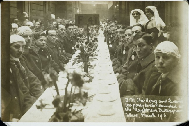 Christina Bloom. 'King George V and Queen Mary host a tea party for wounded soldiers and sailors' 1916