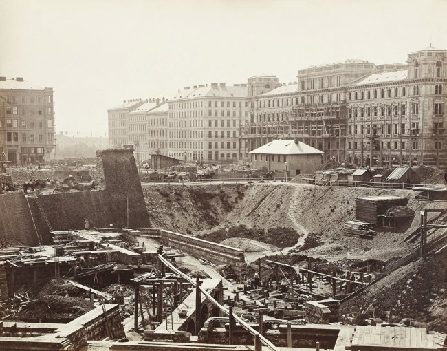 Anonymous. 'Construction site on Ringstrasse with Heinrichshof building' c. 1863