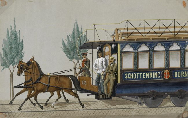 Anonymous. 'Horse-drawn tramway on the Schottenring-Dornbach line' 1868