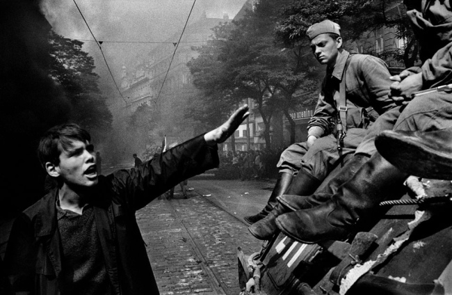 Josef Koudelka(Czech-French, b. 1938) 'Invasion by Warsaw Pact troops in front of the Radio headquarters. Prague, Czechoslovakia' 1968