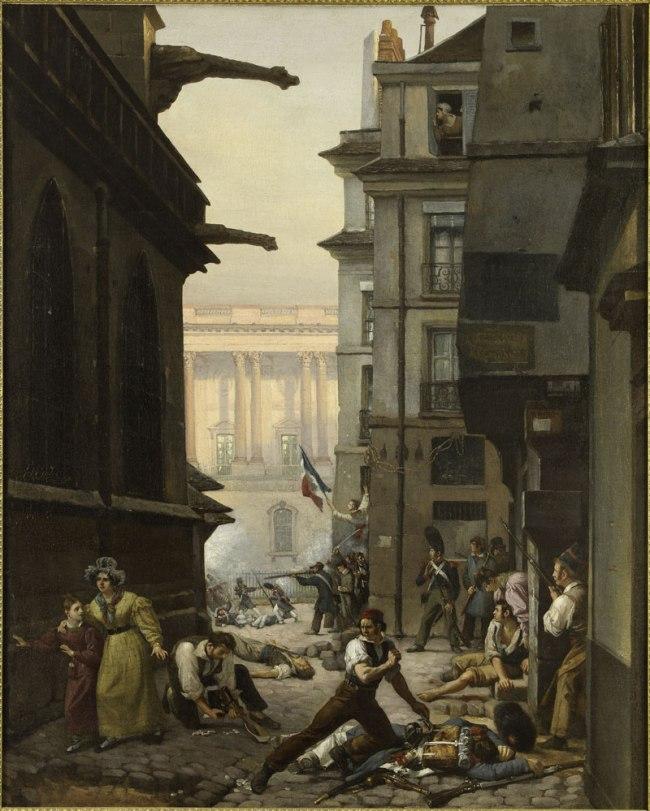 Paul Carpentier. 'Episode du 29 juillet 1830, rue Chilperic, face á la colonnade du Louvre' (Event of 29 July 1830, rue Chilperic, before the colonnade of the Louvre) 1830
