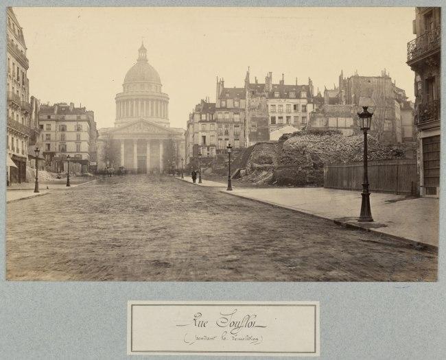 Charles Marville. 'Rue Soufflot (pendant la démolition)' (Rue Soufflot [during demolition]) c. 1876-77