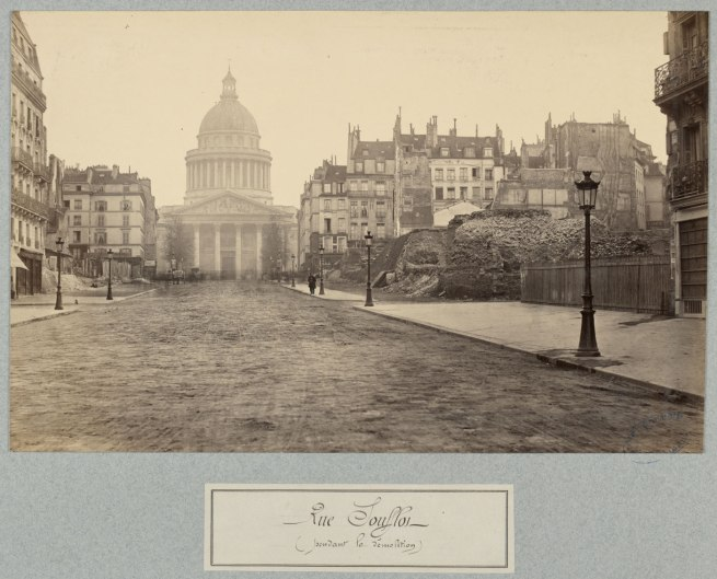 Charles Marville. 'Rue Soufflot (pendant la démolition)' (Rue Soufflot [during demolition]) c. 1876-77