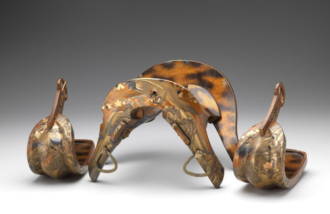 Japanese 'Saddle and stirrups with crane and turtle design' Edo period 1665 Japan