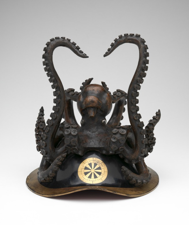 Japanese 'Ceremonial helmet with octopus and Genji cart wheel crest' 19th century
