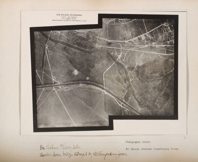 Photographic Section, U.S. Air Service, American Expeditionary Forces (AEF) and Major Edward J. Steichen, A.S.A. 'In Chateau Thierry Sector showing service bridges destroyed by retreating enemy forces' September 7, 1918