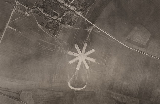 Photographic Section, U.S. Air Service, American Expeditionary Forces (AEF) and Major Edward J. Steichen, A.S.A. 'Concrete landing platform for airplanes at Puxieux (each strip about 50 ft. wide by 250 ft long), crescent shape mass was formed by the pile of broken concrete when the platform was removed, altitude 15,000 ft.,' (detail) August 23, 1918