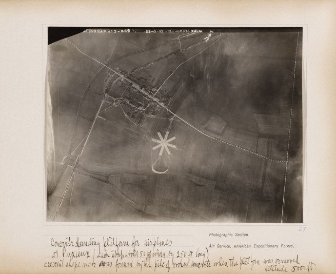 Photographic Section, U.S. Air Service, American Expeditionary Forces (AEF) and Major Edward J. Steichen, A.S.A. 'Concrete landing platform for airplanes at Puxieux (each strip about 50 ft. wide by 250 ft long), crescent shape mass was formed by the pile of broken concrete when the platform was removed, altitude 15,000 ft.,' August 23, 1918