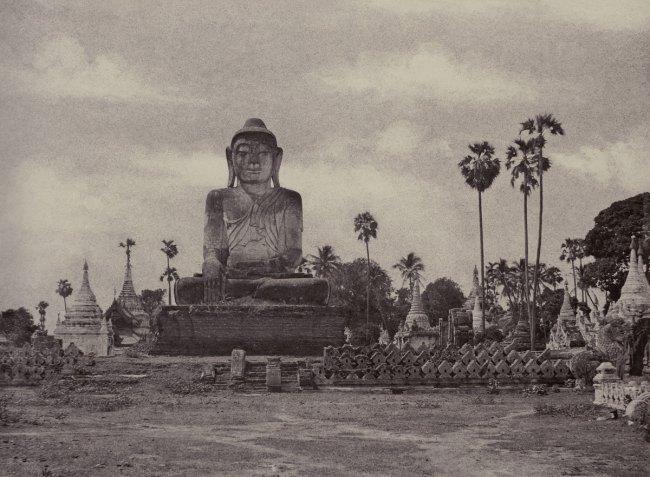 Linnaeus Tripe 'Amerapoora: Colossal Statue of Gautama Close to the North End of the Wooden Bridge, September 1 – October 21, 1855' 1855
