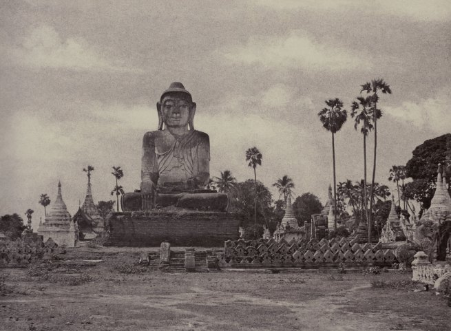 Linnaeus Tripe 'Amerapoora: Colossal Statue of Gautama Close to the North End of the Wooden Bridge, September 1 – October 21, 1855' 1855