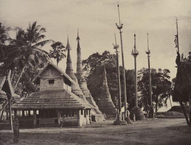 Linnaeus Tripe. 'Rangoon: Henzas on the East Side of the Shwe Dagon Pagoda, November 1855' 1855