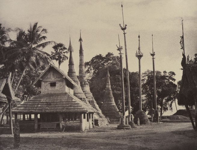 Linnaeus Tripe. 'Rangoon: Henzas on the East Side of the Shwe Dagon Pagoda, November 1855' 1855