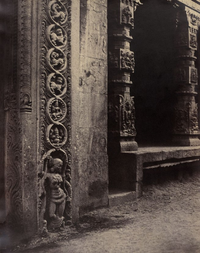 Linnaeus Tripe. 'Madura: Pillars in the Recessed Portico in the Raya Gopurum, with the Base of One of the Four Sculpted Monoliths, January - February 1858' 1858