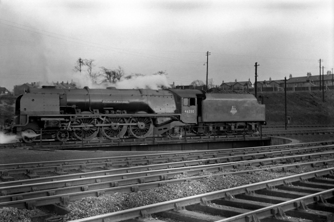 Anonymous photographer. 'Duchess of Buccleuch on turntable' mid-1950s to the early 1960s