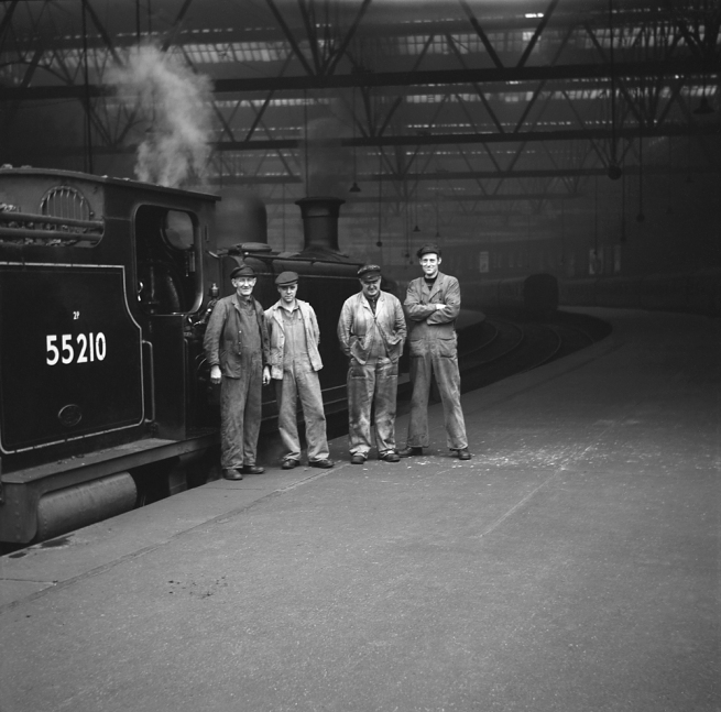 Anonymous photographer. 'Four men with loco 55210' mid-1950s to the early 1960s