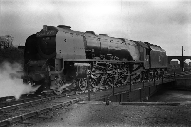 "Anonymous photographer. 'Duchess of Buccleuch bearing ""Royal Scot"" headboard' mid-1950s to the early 1960s"